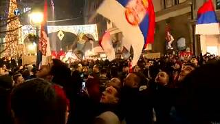 Pro-Serb protesters outside Montnegro's embassy in the Serb capital Belgrade