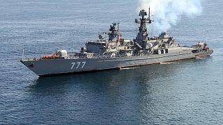یک ناو جنگی حاضر در رزمایش مشترک ایران، روسیه و چین
