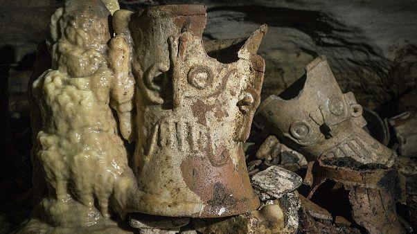 کشف ظروف سفالین تازهای از تمدن مایا در مکزیک. نوامبر ۲۰۱۹
