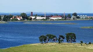 A view of the island of Riems - home to a vaccine development facility.
