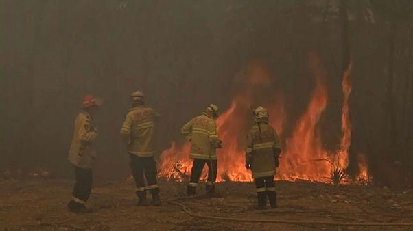 Un grupo de bomberos sofoca las llamas en Melbourne, Australia
