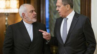 وزيرا الخارجية الروسي سيرغي لافروف والإيراني محمد جواد ظريف، موسكو 30 ديسمبر 2019