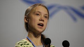 لناشطة السويدية المعنية بالمناخ غريتا ثونبرغ تتحدث أمام الجلسة العامة لمؤتمر المناخ في مدريد-11/12/2019