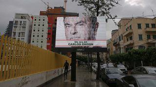 لوحة إعلانية رقمية لشركة دعاية لبنانية دعما للرئيس التنفيذي السابق لشركة نيسان كارلوس غصن في لبنان 2018.