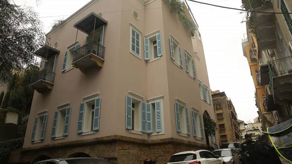 Home of former Nissan Chairman Carlos Ghosn on Tuesday, Dec. 31, 2019 in Beirut, Lebanon (AP Photo/Maya Alleruzzo)