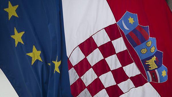 Croatian and the EU flags