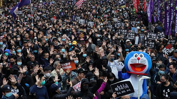 Hong Konglu eylemcilerden yeni yılda Çin karşıtı protesto
