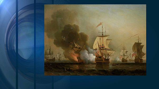 """Bild des Untergangs der Galeone """"San José"""" in der Schlacht von Barú - Maler: Samuel Scott (1702-1772)"""