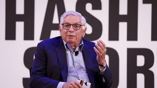 David Stern from NBA being interviewed on stag at the Hashtag Sports event on Wednesday, June 26, 2019 in New York.