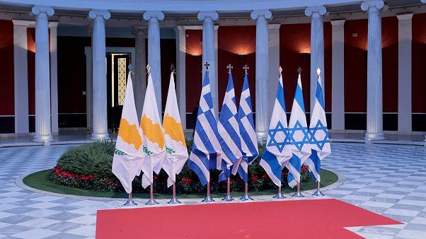 Σημαίες Ελλάδας, Κυπρου και Ισραήλ στο Ζαππειο