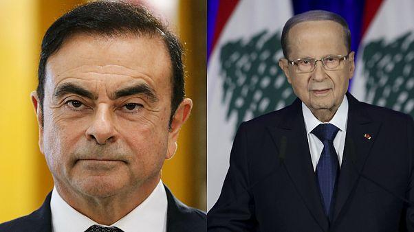 الرئيس اللبناني ميشال عون والرئيس السابق لمجموعة نيسان رينو كارلوس غصن