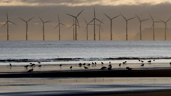 An offshore wind farm is visible from the beach in Hartlepool, England, Tuesday, Nov. 12, 2019.