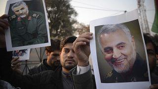 Pakistani demonstrate over the U.S. airstrike in Iraq that killed Iranian Revolutionary Guard Gen. Qassem Soleimani, in Peshawar, Pakistan, Friday, Jan. 3, 2020.