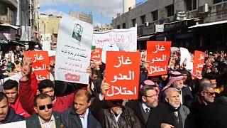 مظاهرة في العاصمة الأردنية عمان احتجاجا على توريد الغاز الإسرائيلي