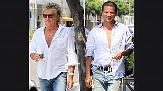 Rod Stewart and his son Sean Stewart in Los Angeles on are seen on Aug. 26