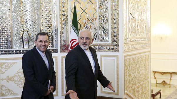 وزير الخارجية الإيرانية محمد جواد ظريف والسفير الإيراني في الأمم المتحدة مجيد تخت راونتشي