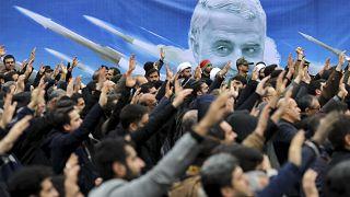 متظاهرون ضد الضربة الجوية الأمريكية في العراق التي أسفرت عن مقتل الجنرال قاسم سليماني، طهران  4 يناير 2020