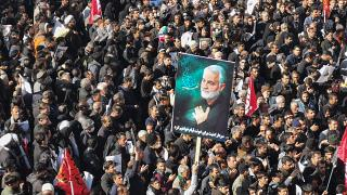 Iranian mourners gather for the burial of slain top general Qasem Soleimani in his hometown Kerman on January 7, 2020.