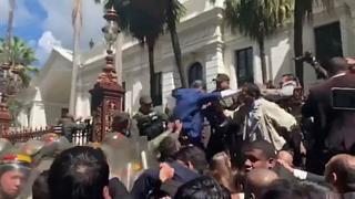 Opposition leader Juan Guaido attempting to enter National Assembly building