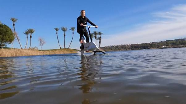 This e-Bike can ride on water