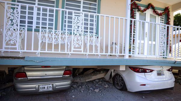 Algunos de los daños producidos por el terremoto de este lunes en Guanica, Puerto Rico.