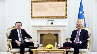 President Hashim Thaci meeting with Albin Kurti, head of Vetevendosje.