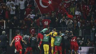 Euro 2020 için İstanbul'da oynanan Türkiye-İzlanda maçından bir kare