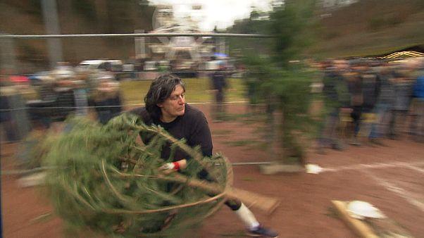 No comment: karácsonyfa-hajító bajnokság Németországban