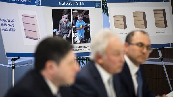 Placards showing images of Jozef Dudek and IKEA's Malm dressers are displayed during a news conference in Philadelphia, Monday, Jan. 6, 2020.