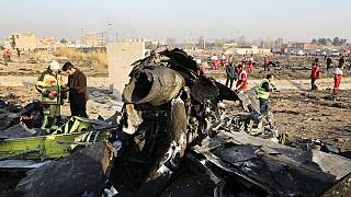 Debris is seen from an Ukrainian plane which crashed as authorities work at the scene in Shahedshahr southwest of the capital Tehran, Iran