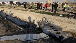 Debris from an Ukrainian plane which crashed in Shahedshahr southwest of Tehran, Iran, Jan. 8, 2020oroozi)