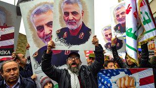 Kasım Süleymani'nin ölümü İstanbul'da protesto edildi