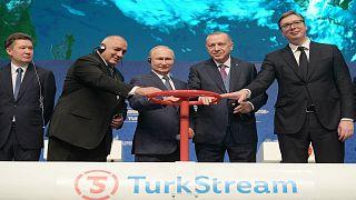 الرئيس التركي رجب طيب أردوغان ونظيره الروسي فلاديمير بوتين يدشنان مشروع خط الأنابيب التركي للغاز تورك ستريم