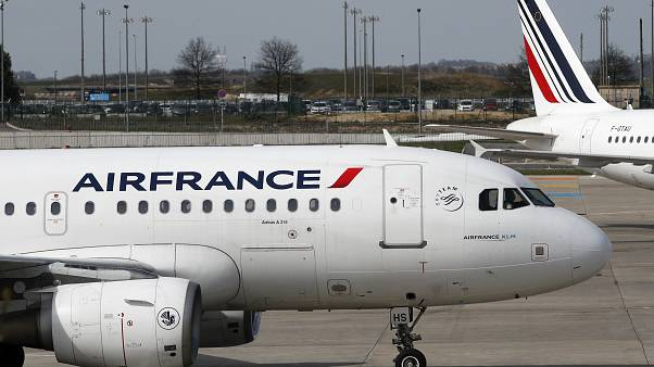 Air France planes are parked on the tarmac at Paris Charles de Gaulle airport, in Roissy, near Paris, Saturday, April 7, 2018.