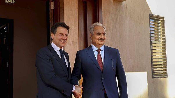 Halife Hafter ve İtalya Başbakanı Giuseppe Conte (arşiv)