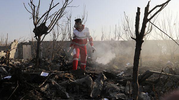 Ukrainian plane crashed southwest of Tehran, Iran, Wednesday, Jan. 8, 2020. A Ukrainian airplane carrying 176 people crashed killing all onboard. (AP Photo/Ebrahim Noroozi