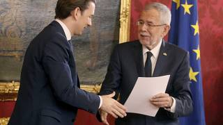 Austrian President Alexander Van Der Bellen, right, with new Chancellor Sebastian Kurz in Vienna, Austria, Jan. 7, 2020