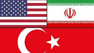 ABD, İran ve Türkiye bayrakları