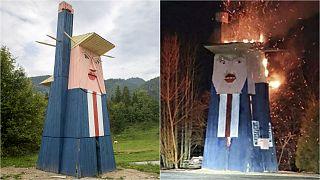 Donald Trump statue in Slovenia burned down