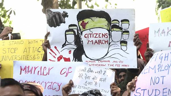 Students protest JNU campus attack in New Delhi, India
