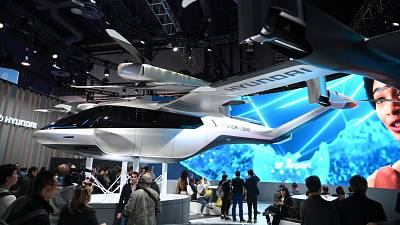 The Hyundai S-A1 electric Urban Air Mobility concept is displayed at the CES in Las Vegas.