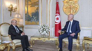 التقى وزير الخارجية الفرنسي، جان-إيف لودريان، بالرئيس التونسي قيس سعيّد