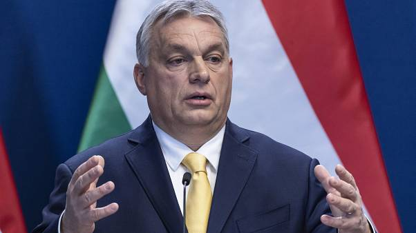Viktor Orban addresses the media during the annual international press conference in Budapest last week.