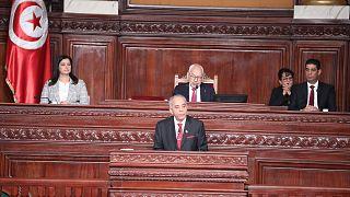 رئيس الحكومة المكلف الحبيب الجملي أثناء عرض حكومته على البرلمان لمنحها الثقة