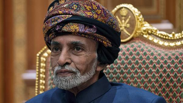 Sultan of Oman Qaboos bin Said al-Said sits during a meeting with the US secretary of state.