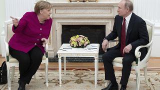 Канцлер ФРГ Ангела Меркель и президент РФ Владимир Путин в Кремле. Январь 2020 года
