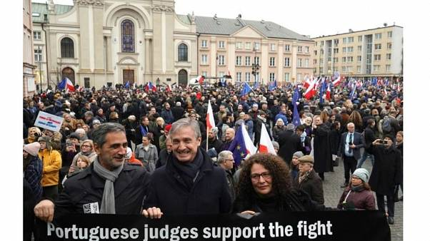 Judges from around Europe took part in the protest in Warsaw
