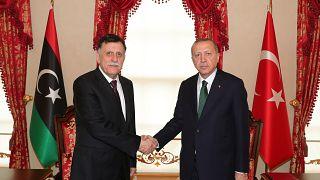 Türkiye Cumhurbaşkanı Recep Tayyip Erdoğan, Libya Ulusal Mutabakat Hükümeti Başkanlık Konseyi Başkanı Fayez Mustafa El Sarrac'ı kabul etti.