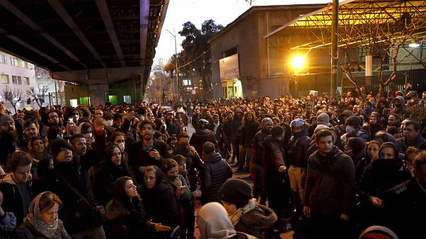 A vigil at the gate of Amri Kabir University in Tehran turned to angry protests