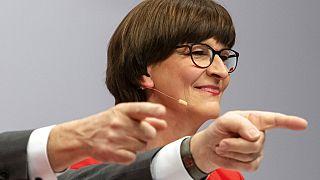 Saskia Esken, in Berlin, Germany, Friday, Dec. 6, 2019.  (AP Photo/Jens Meyer)